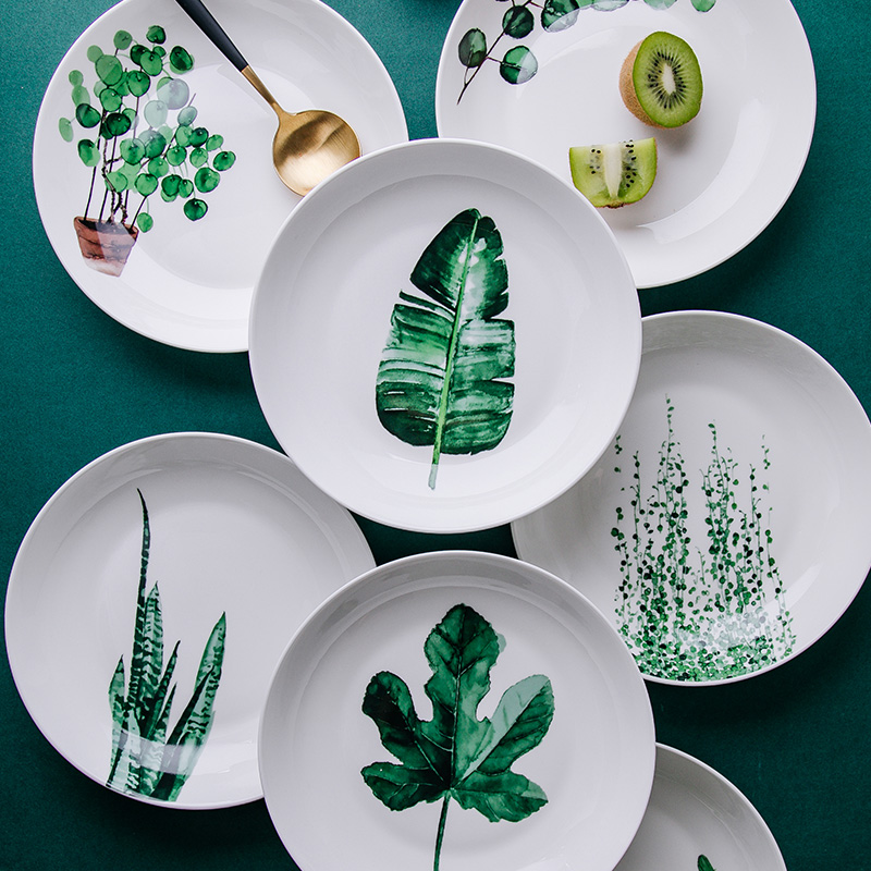 ><font><b>Nordic</b></font> <font><b>Style</b></font> Tableware Ins Green Plant <font><b>Ceramic</b></font> Bone China Household Plate Dinner Kitchen Dishes Plate Home Tableware