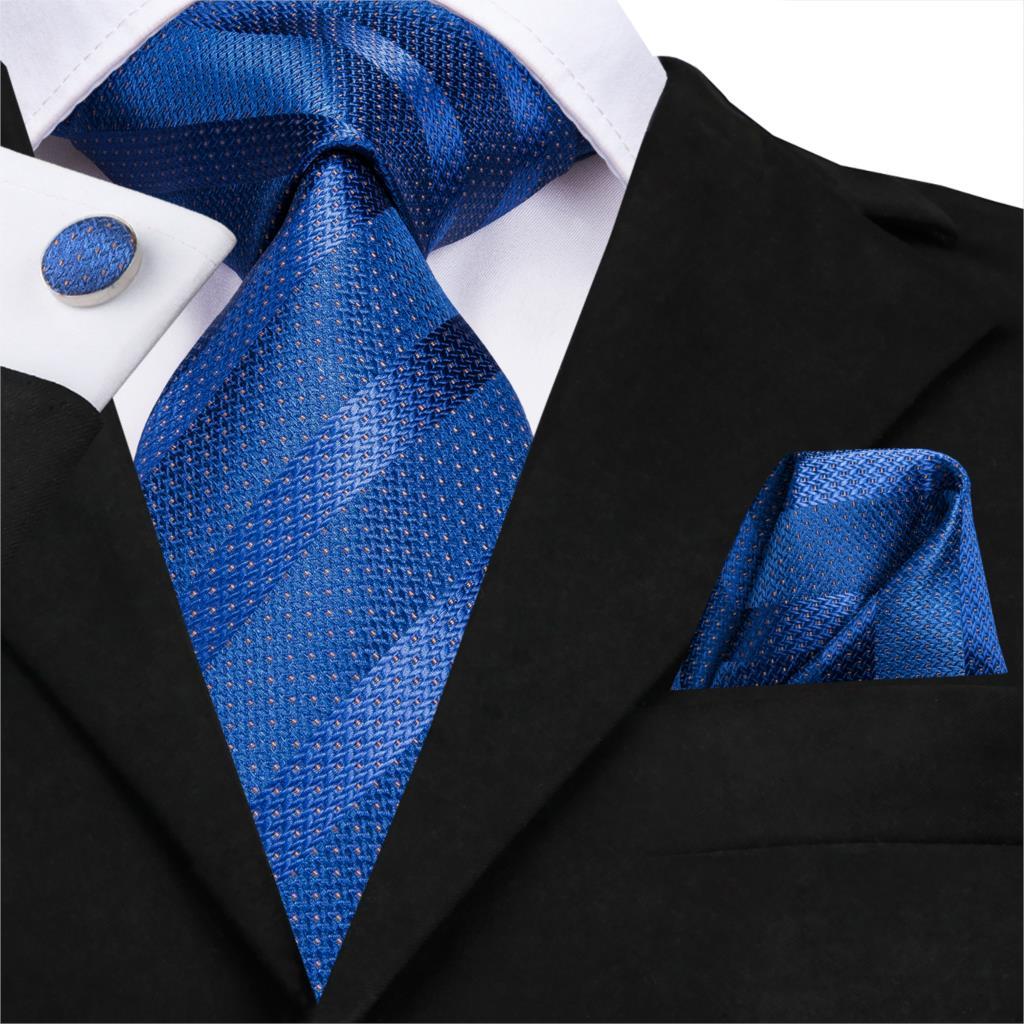 SN-3167 New Blue Striped 8.5cm 100% Silk Jacquard Woven Men Tie Necktie Hanky Cufflinks Set Wedding Classic Pocket Square Tie