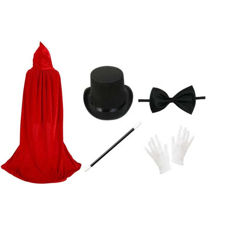 Black Top Hat Magician Hat /& Magic Wand Props Halloween Party Fancy Dress
