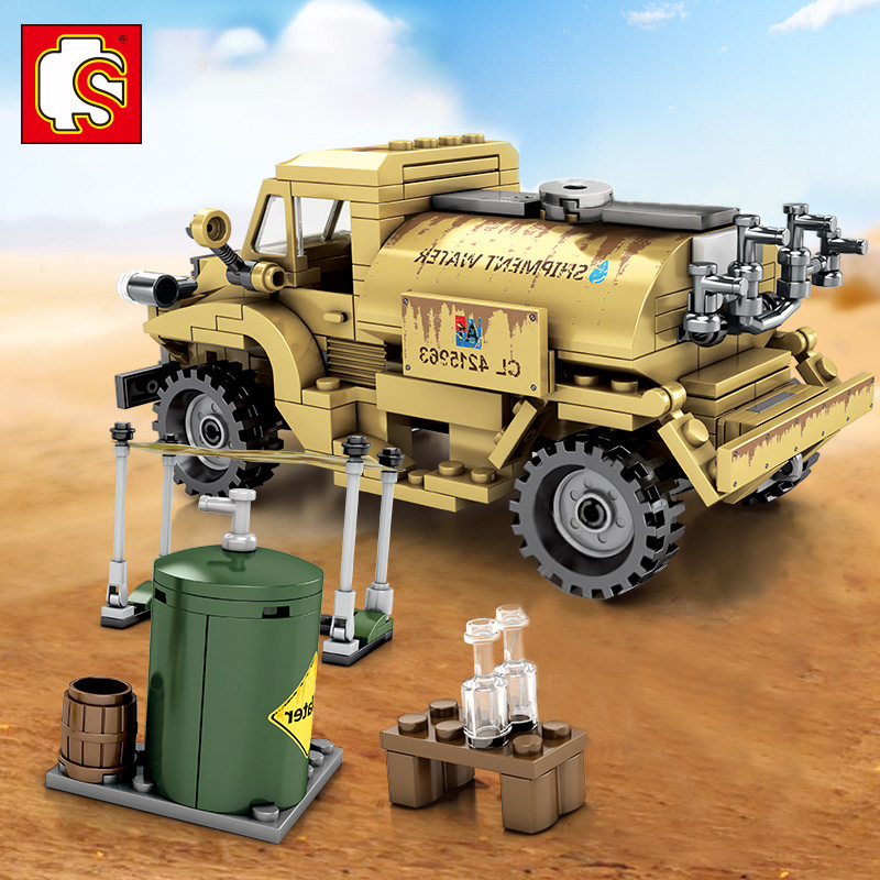 Military M4 Tank Water Tank Truck Building Blocks Model Building Bricks Army Soldier Car Vehicle DIY Toys For Children