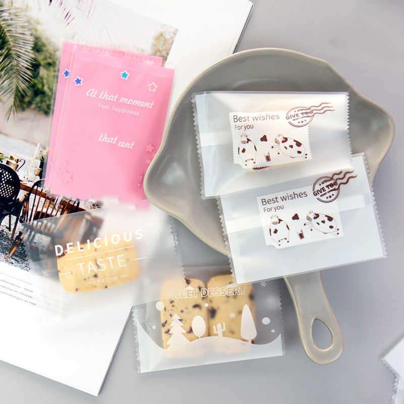 Lbsisi vida 100 pces doces do casamento sacos de biscoito selo do calor saco de embalagem de doces porca floco de neve diy biscoitos para festa de aniversário 7*10cm