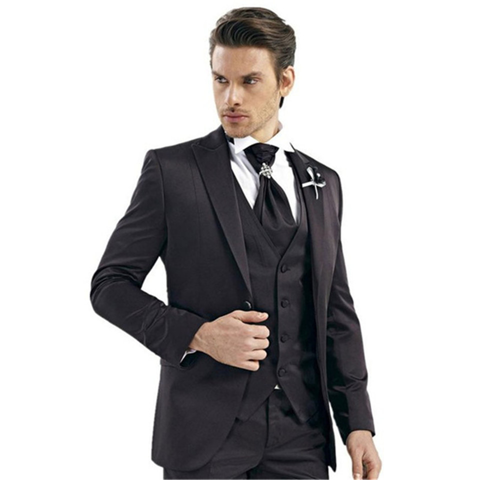 New Classic Men's Suit Smolking Noivo Terno Slim Fit Easculino Evening Suits For Men Black Business Groomsmen Tuxedos Wedding Wo