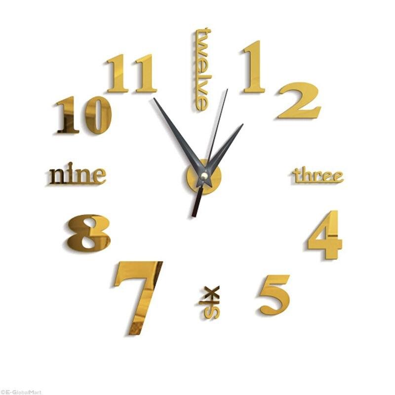 3D Large Wall Clock Mirror Sticker Big Watch Sticker Home Decor Unique Gift DIY Gold