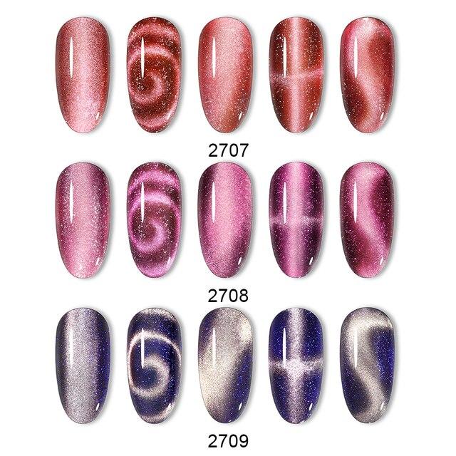 Belen 9D Shimmer Wide Line Cat Eye Gel Polish Soak Off UV LED Nail Varnish Primer Gel Polish Salon Magnetic Manicure 10ML 3