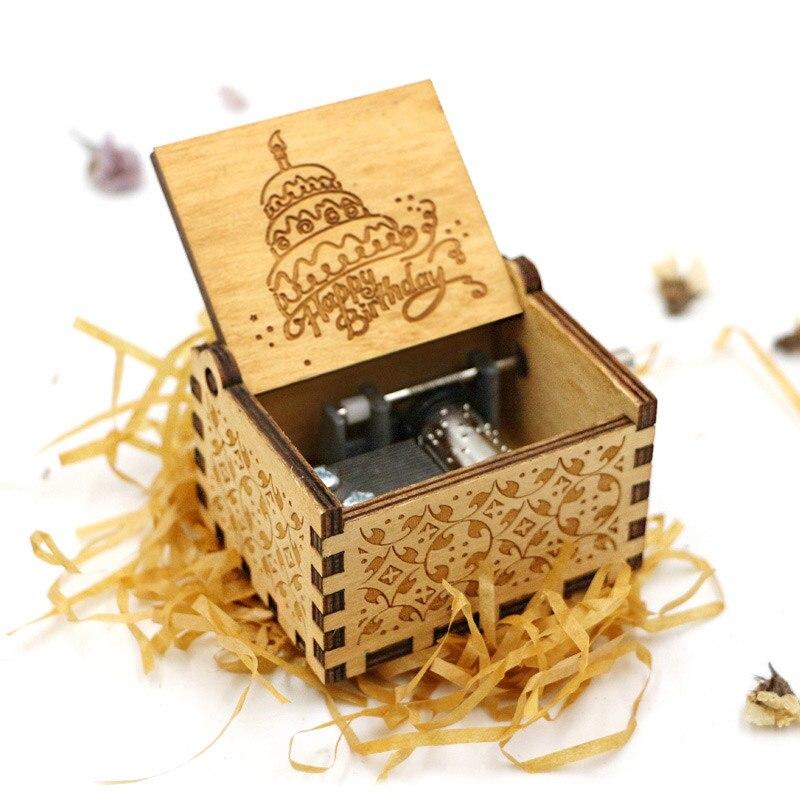Старинная Музыкальная шкатулка с ручной резьбой по дереву в качестве подарка на день рождения и Рождество для вас и ваших друзей - Цвет: Happy birthday