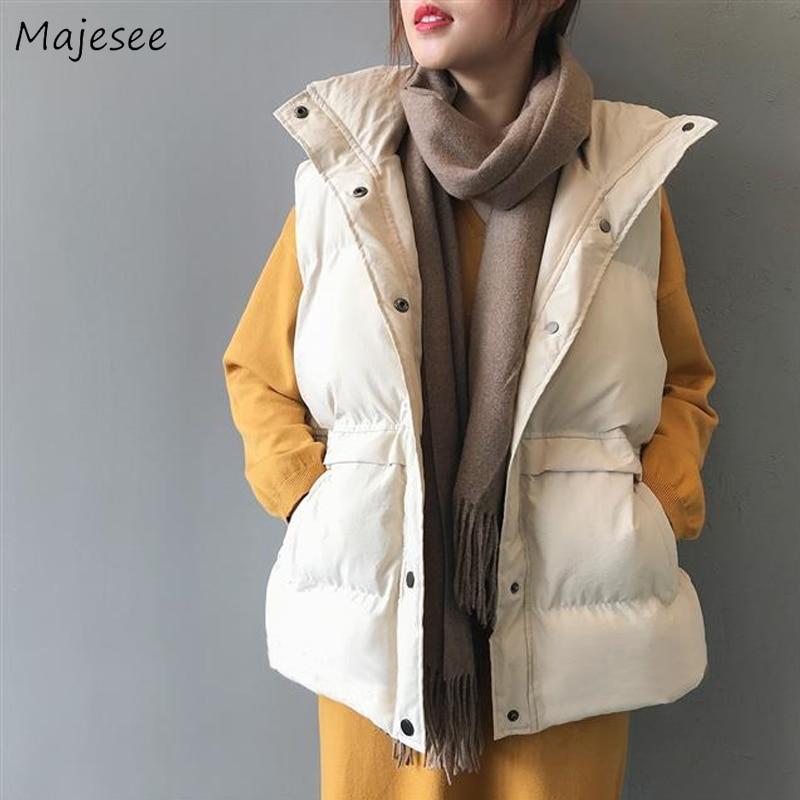 Vests Waistcoats Women Casual Solid Plus Size Pockets Single Breasted Students Winter Womens Harajuku Simple Warm Sleeveless