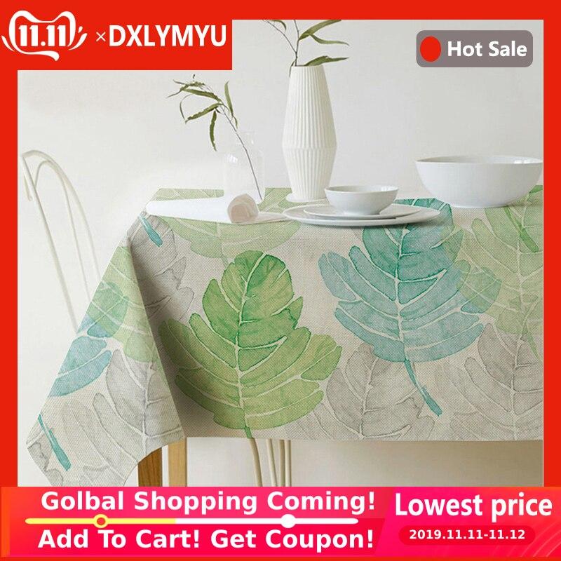 Estilo pastoral decorativo folhas de plantas tropicais toalha de mesa algodão linho toalha de mesa de jantar capa para cozinha decoração de casa