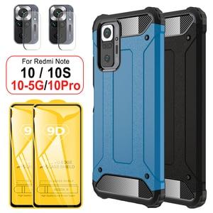 Image 1 - מחוזק עמיד הלם מקרה עבורXiaomi Redmi Note 10S 10 Pro case הערה 10 פרו מוקשח מקרה + זכוכית הערה 10S 10Pro כיסוי שריון מקרה על Redmi Note10 פרו 5G