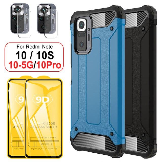 מחוזק עמיד הלם מקרה עבורXiaomi Redmi Note 10S 10 Pro case הערה 10 פרו מוקשח מקרה + זכוכית הערה 10S 10Pro כיסוי שריון מקרה על Redmi Note10 פרו 5G