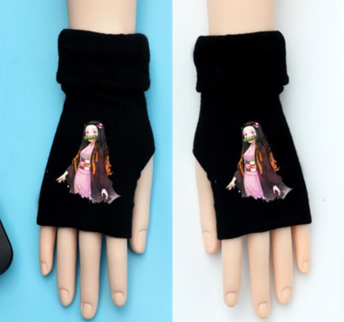 Naruto Uchiha Clan Sasuke Cosplay Cotton Knitted Gloves Fingerless Mittens Gift