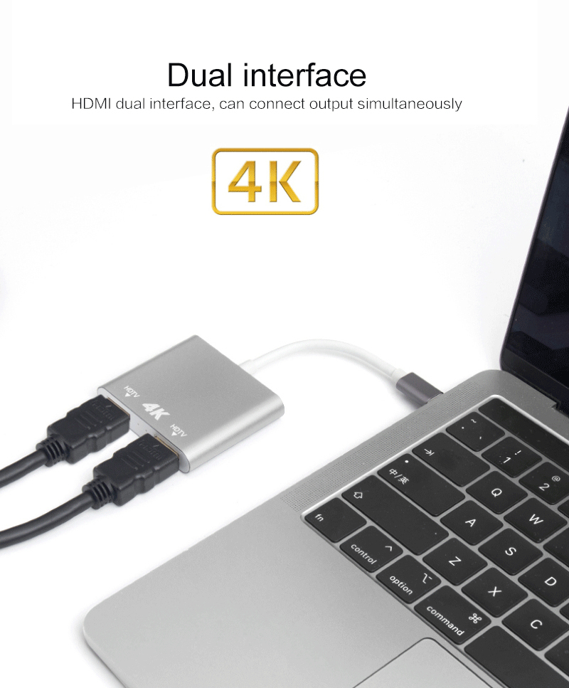 USB Converter USB C Type To HDMI  4K Same Screen Converter   Adapter 1 Enter 2 Out HD TV HDMI Split Screen Video Cable for Apple|Type-C Adapter| |  - title=