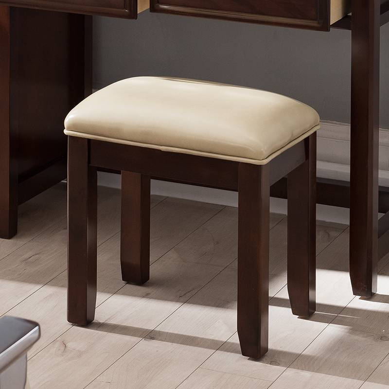 European Princess solid wood stool fashion simple soft bag makeup stool American country bedroom creative dressing stool   - title=