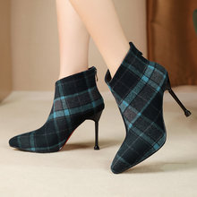 2019 Women Ankle Boots Autumn Winter Flock Leather High Heel Shoes Fashion Gingham Pointed Toe Zipper Woman Boots Red Blue hot selling blue women s spring autumn ankle boots high heel pointed zipper shoes solid square heel pointed toe flock shoes