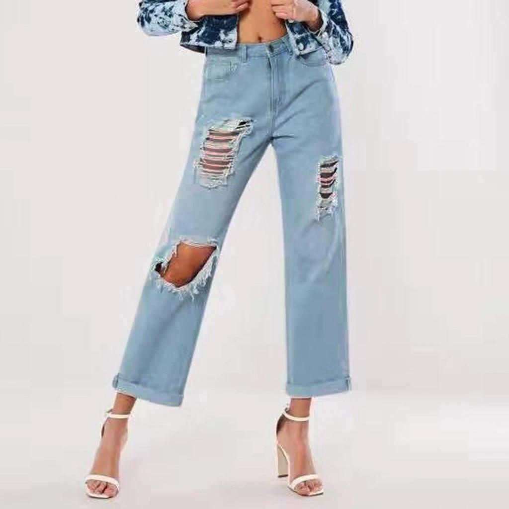 Jeans Rasgados Para Damas Azules Sueltos Vintage Moda Femenina Mujeres Alta Cintura Nuevo Estilo Holgado Mom Jeans Mujer Pantalones Vaqueros Casuales G30 Pantalones Vaqueros Aliexpress