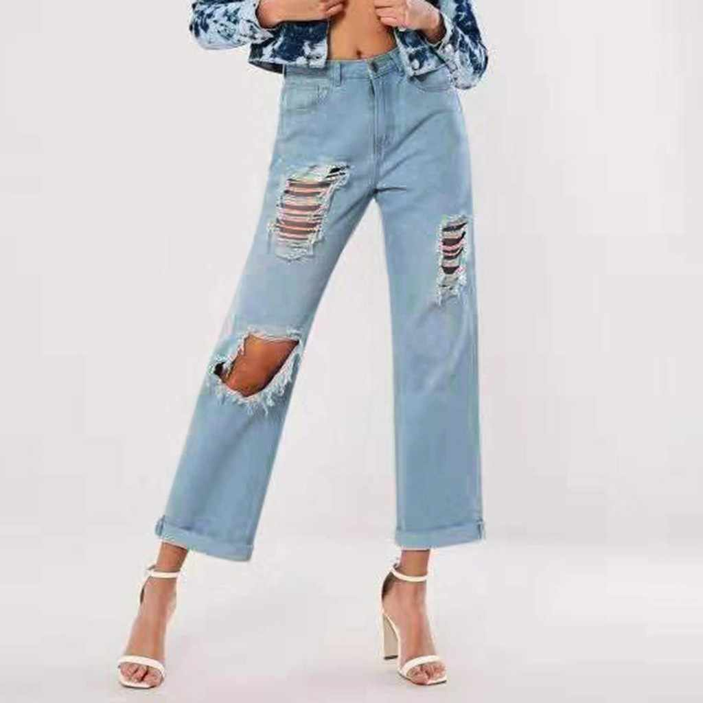 Ripped Jeans For Women Blue Loose Vintage Female Fashion Women High Waist New Style Baggy Mom Jeans Women Pants Casual Jeans 3 Jeans Aliexpress