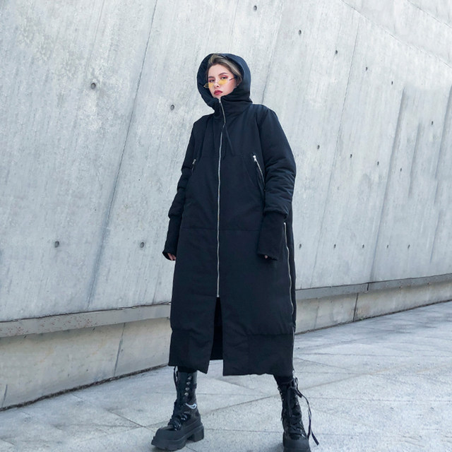 [EAM] Black Big Size Hooded Cotton-padded Coat Long Sleeve Loose Fit Women Parkas Fashion Tide New Autumn Winter 2019 1H886 33