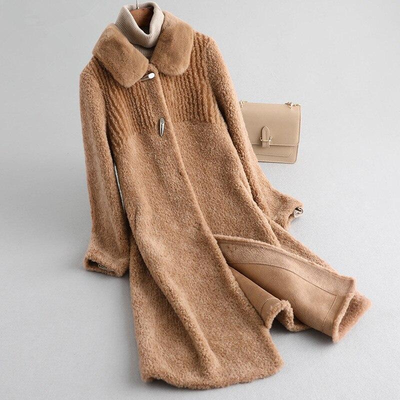 Fur Real 2020 Coat Sheep Shearling Fur Jacket Winter Coat Women 100% Wool Coats Korean Long Jackets Manteau Femme MY4248 S S