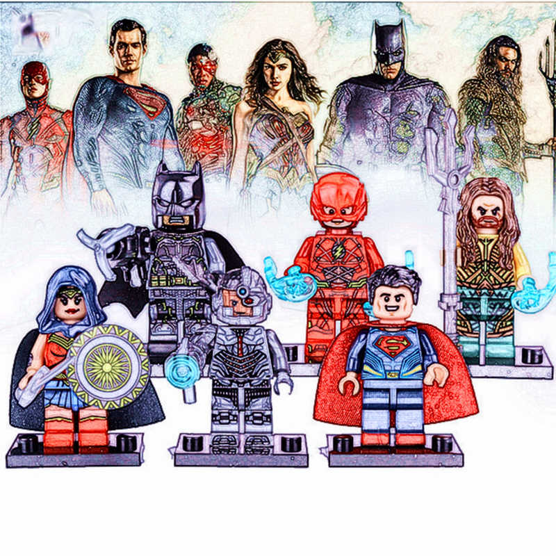 DC Justice League Batman Wonder Woman Superman Aquaman Building Mini figure movie Mini figura blocchi di Mattoni di Giocattoli Per Bambini regalo