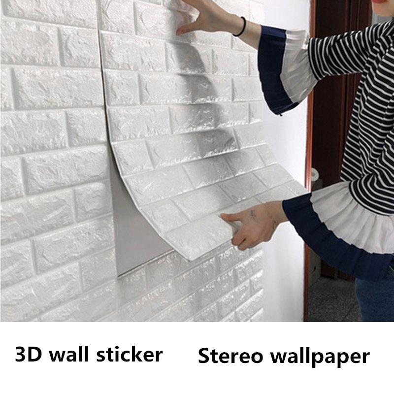 3D Wallpaper Waterproof Foam Bedroom Living Room DIY Self-Adhesive Brick Wall Stickers 70*77cm Easy Convenience Home Wall Decals