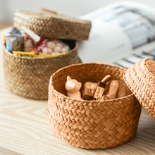Плетеная соломенная корзина для хранения ручной работы плетеная