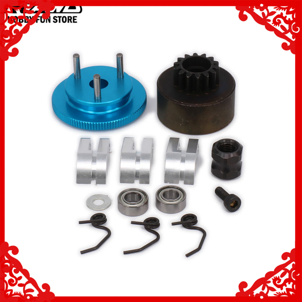 RCAWD Flywheel Assembly 14T Gear 3 Clutch Spring Cone Engine Nut Bearing Clutch Set Motor Component For 1/8 RC Car Nitro HSP