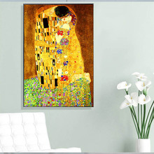 Gustav Klimt Kiss Famous Figure Wall Canvas Painting Print on Art Pictures For Living Room Home Decoration No Frame