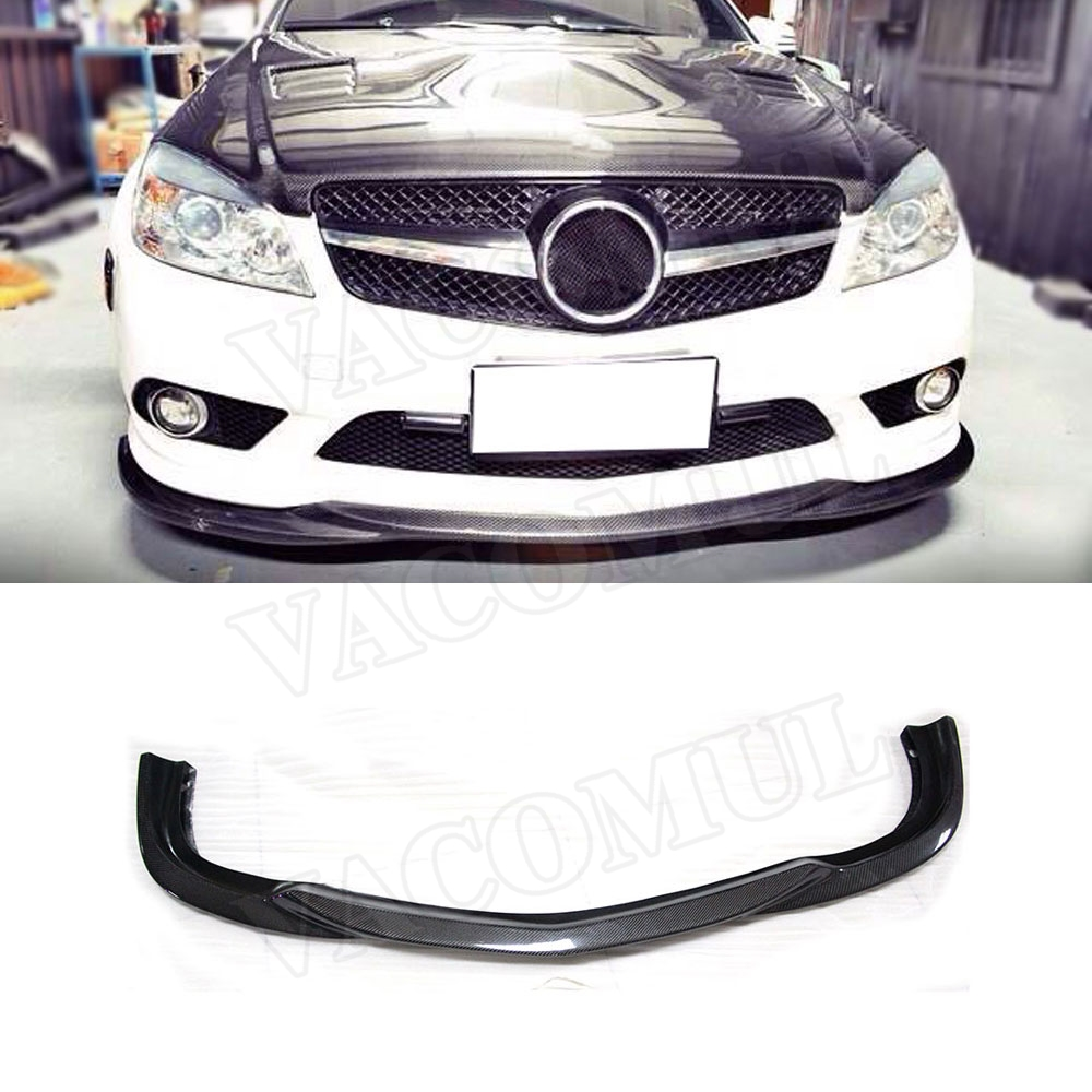 Carbon Fiber <font><b>Front</b></font> Bumper <font><b>Lip</b></font> Spoiler for Mercedes <font><b>Benz</b></font> C Class <font><b>W204</b></font> C63 AMG Sport 2008 -2011 Car Styling image