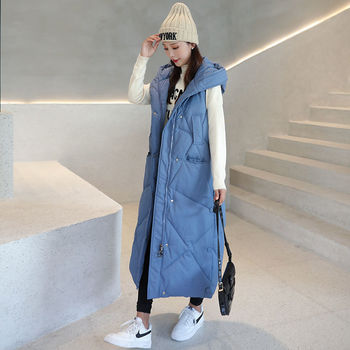 New Winter ladies down cotton vest long section women's Korean version of loose fashion warm waistcoat hooded women's jacket children s wear jacket 2018 winter new girls korean version of the woolen coat in the big virgin baby baby long section shirt