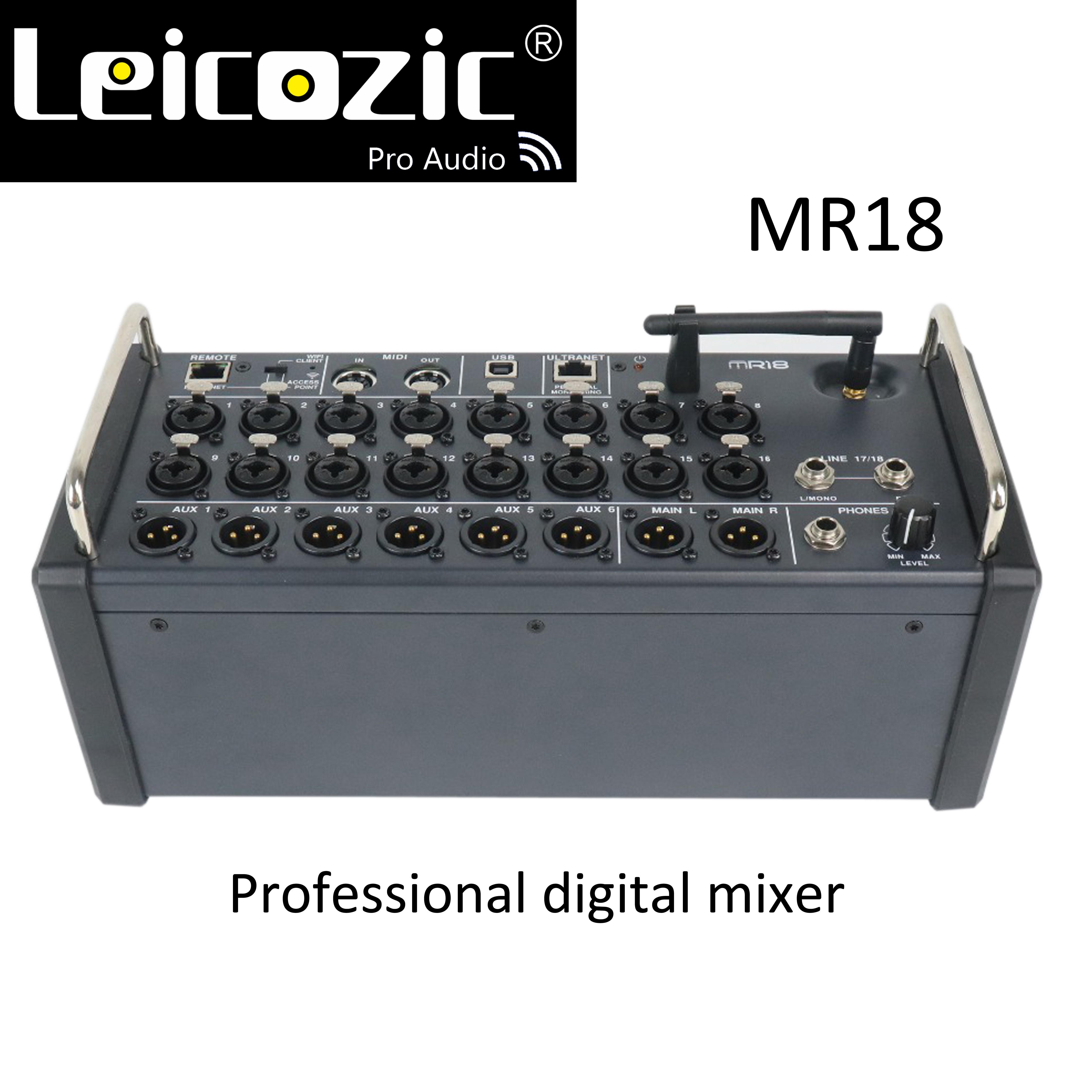 Leicozic MR18 console de mixage numérique 18 entrées pour tablettes iPad/Android avec 16 préamplis PRO, Wifi intégré et USB multicanaux