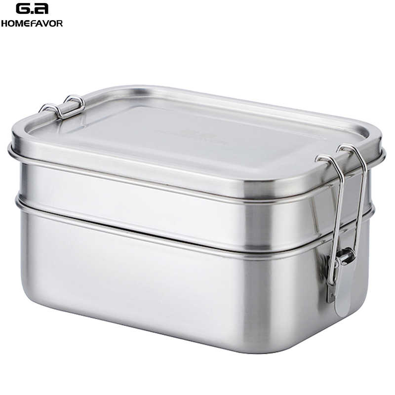 2 Layer Portable Stainless Steel Bento Lunch Box Fruit Food Container 3 Sizes