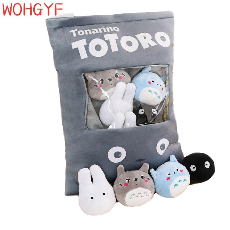 A Big Bag Of Totoro 8pcs Pudding Big Bag Totoro Pillow Doll Pp Cotton Soft Cushion Simulation Innovative Snacks
