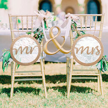 1 par Mr Mrs Silla de boda decoración arpillera encaje silla Banner boda silla decoraciones