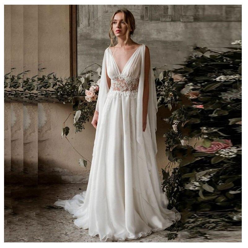 2020 MYYBLE Ivory Elegant Appliqued Fairy Wedding Dresses A Line Train Batwing Sleeve Bride Dresses Custom Made Cheap