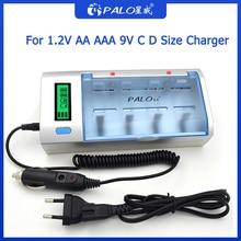 PALO C D Pin Sạc 1.2V Ni MH AA AAA Thông Minh Sạc 1.2V AA AAA C D R20 nimh NRechargeable Pin 9V Đa Công Dụng