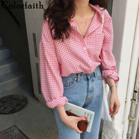 Colorfaith New 2020 Women Spring Summer Blouse Shirts Plaid Fashionable Single Breasted Casual Loose Wild Sweet Pink Tops BL1023