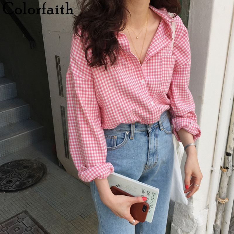 colorgod-nouveau-2020-femmes-printemps-ete-blouse-chemises-plaid-a-la-mode-simple-boutonnage-decontracte-lache-sauvage-doux-rose-hauts-bl023