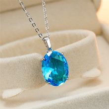 Simple Female Aqua Blue Pendant Necklace Charm Crystal Silver Chain Necklaces For Women Dainty Bridal Oval Weddings Necklace stylish rhinestoned fake crystal oval necklace for women