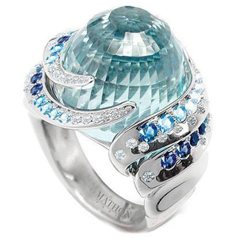 2020 изысканные ювелирные изделия Новые творческие Стиль Аквамарин с бриллиантами сплава кольцо вечерние путешествия свадебный подарок для ...