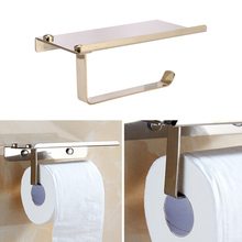 Bathroom Toilet Roll Paper Holder Wall Mount Stainless Steel WC Paper Phone Holder Tissue Boxes with Storage Shelf Rack 304 stainless steel toilet roll paper holder hanger wc wall mount tissue holder chrome free shipping
