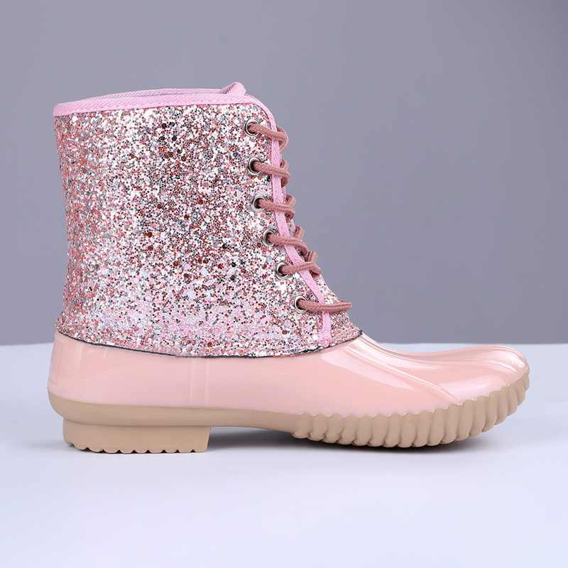 Dihope Enkellaarsjes Jelly Schoenen Pvc 2020 Vrouwen Sexy Bling Pailletten Vrouwelijke Water Schoenen Lace Up Laarzen Voor Vrouwen Sandalen mujer