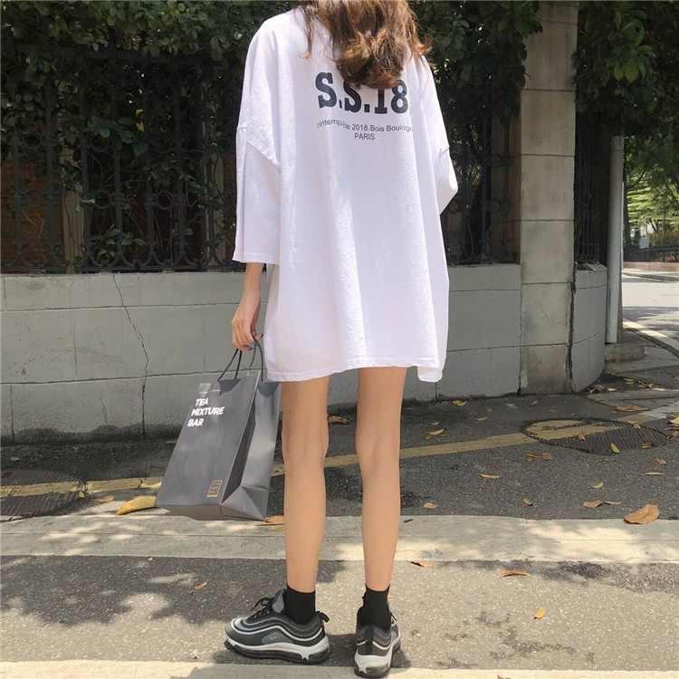 Magliette donna casual t shirt in cotone divertente plus size Streetwear t-shirt oversize bianco manica corta 2020 primavera estate Magliette 363