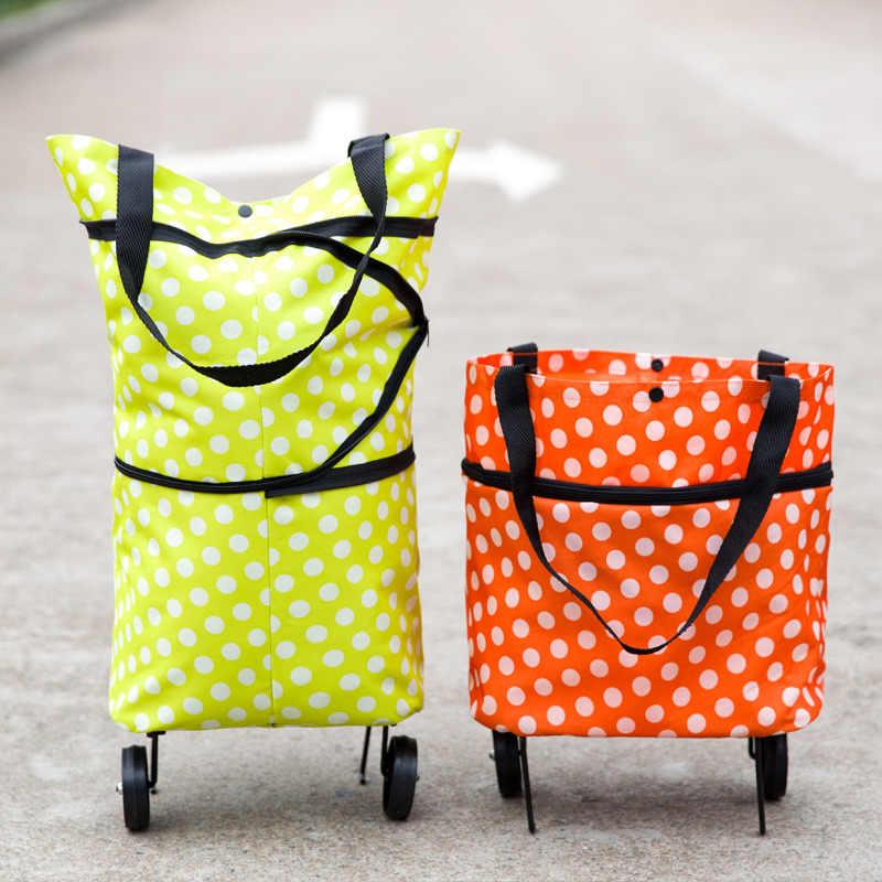 شحن مجاني للطي المحمولة أكياس التسوق شراء الخضار حقيبة عالية السعة التسوق الغذاء المنظم حقيبة العربة على عجلات حقيبة