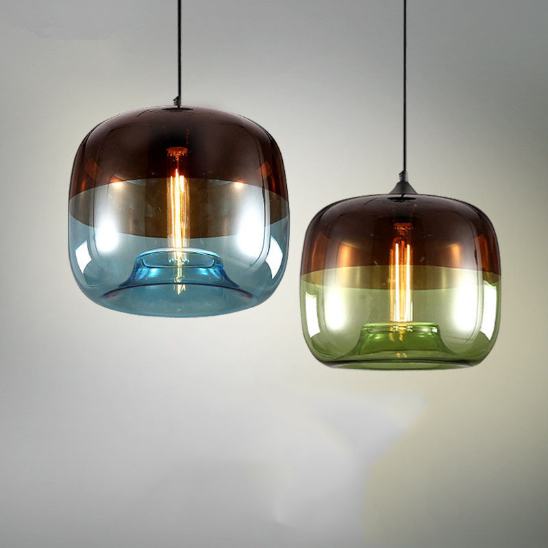 Northern Europe Modern Concise Glass A Chandelier Restaurant Originality Personality Electroplate Round Ball Lamps And Lanterns