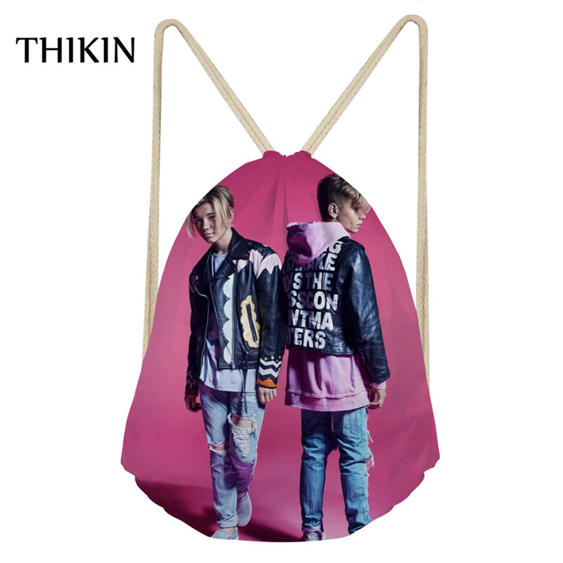 THIKIN Pink Small Gym Bag Women Sports Bag With Marcus And Martinus Print Drawstring Bags Teenager Running Climb Rucksack