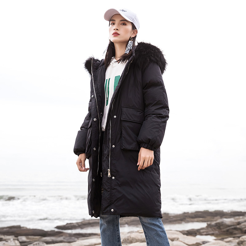 Jacket Down Woman Hooded Long Coats Winter Coat Women Clothes 2020 Raccoon Fur Collar Korean Parka Chaqueta Mujer MY1546