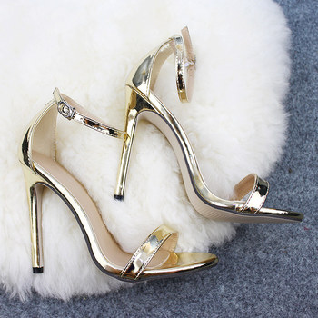 heel 12 cm European classic sexy Shoes women's Shoes Sandals With Buckle High Heels Gold Silver Wedding Shoes Large Size 35-43 image