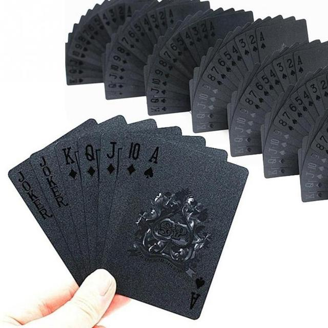 24K Gold Playing Quality Durable Plastic Cards Waterproof Golden Poker Black Collection  Diamond   Gift Standard 3