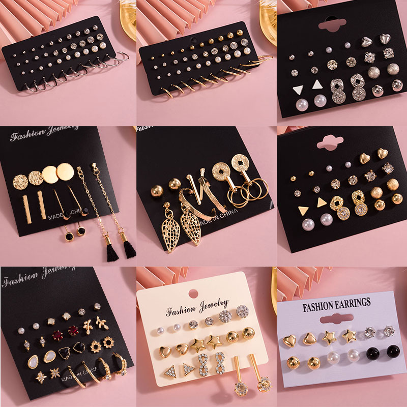 Fashion Women's Earrings Pearl Stud Earrings For Women New Bohemian 2020 Geometric Small Crystal Heart Earrings Punk Jewelry