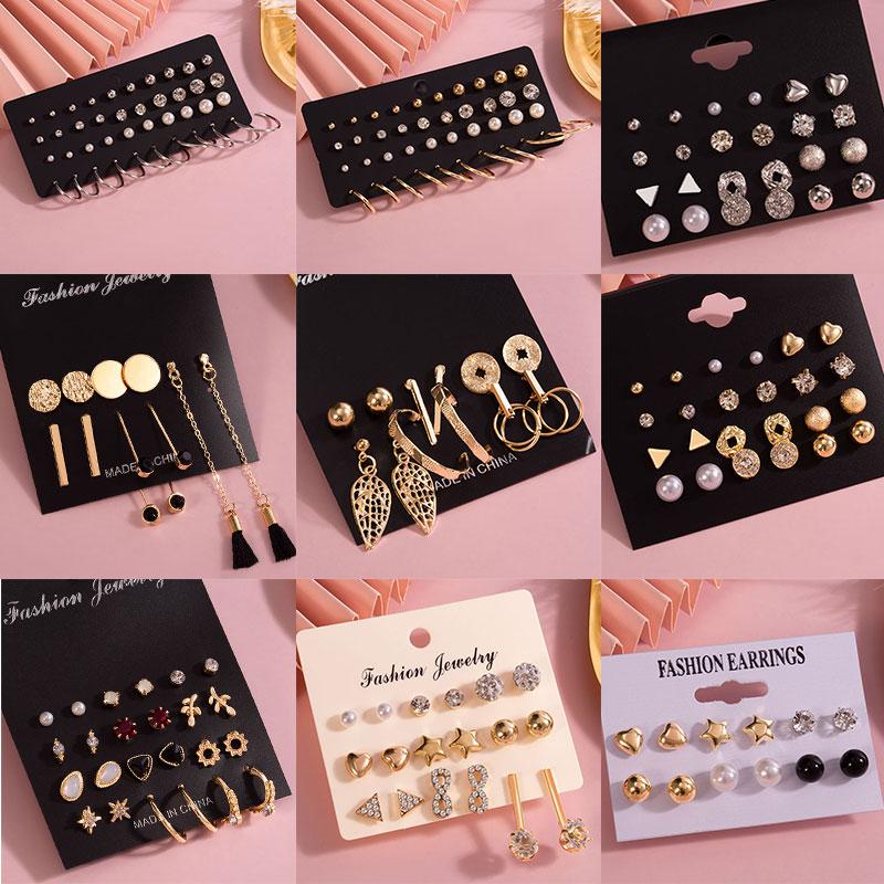 Fashion Women's Earrings Pearl Stud Earrings For Women New Bohemian 2020 Geometric Small Crystal Heart Earrings Punk Jewelry