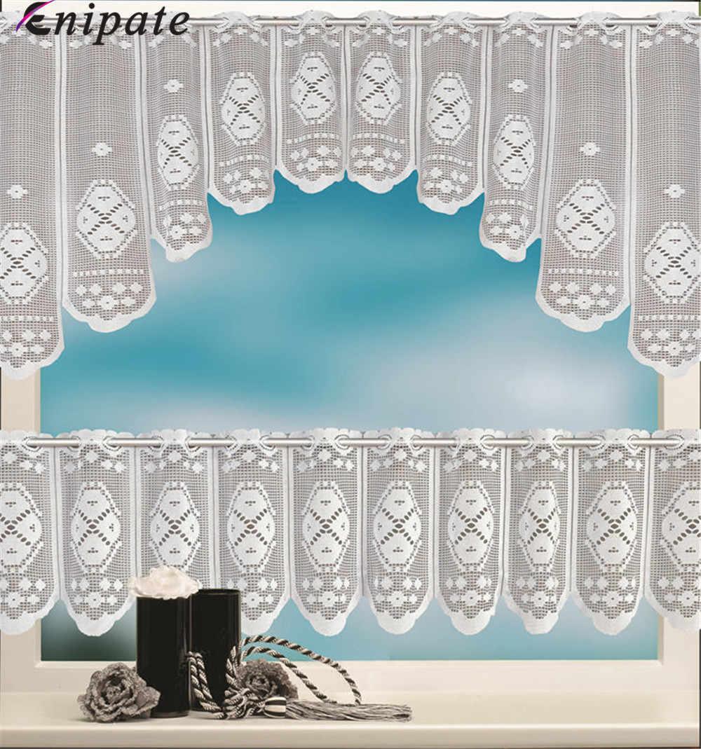 Enipate 2 قطعة الأوروبي الأبيض شفافة القهوة الستار الاعوجاج محبوك الستائر المطبخ تول الدانتيل شير الجاكار غرفة نوم الستائر